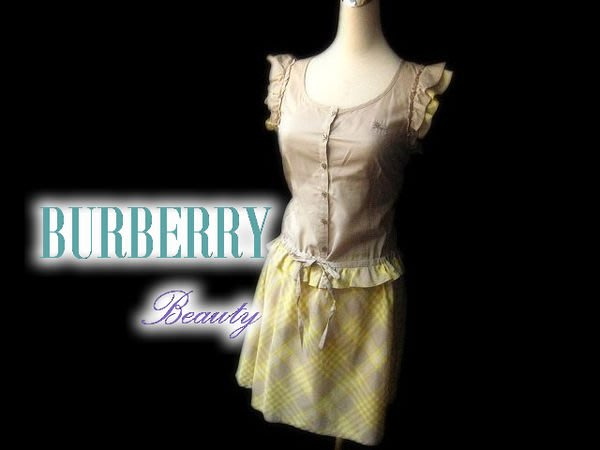 *Beauty*BURBERRY卡其格紋洋裝 36號 WE14