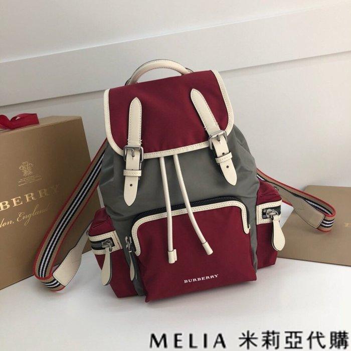 Melia 米莉亞代購 美國精品代購 巴寶莉 戰馬 女士秋冬新款 中號 雙肩包 後背包 尼龍防水 條文背帶 紅灰色