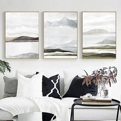 抽象現代簡約禪意風景山脈裝飾畫芯高清微噴打印壁畫