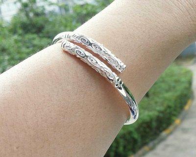 嗨,寶貝銀飾珠寶* 925純銀☆999純銀 時尚 緊箍棒(愛妳五百年) 祥雲淺雕實心開口純銀手環 手鐲 可調節