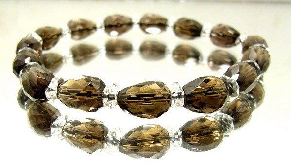 小風鈴~天然AA級高檔寶石鑽切面水滴形茶晶手鍊~淨重10.5g