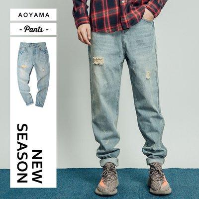 牛仔褲 復古仿舊刷色歐美街頭寬鬆牛仔褲【A1808】青山AOYAMA