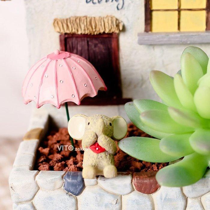 雨傘粉色多肉花插☆ VITO zakka ☆多肉盆栽擺飾/苔癬微景觀/園藝資材/布景/裝飾/擺件/小物