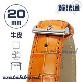 【鐘錶通】C1.25I《亮彩系列-手拉錶耳》鱷魚格紋-20mm 橙橘┝手錶錶帶/皮帶/牛皮錶帶┥