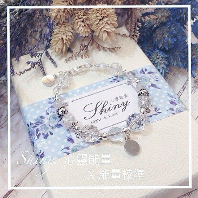 【Shiny - 心靈能量】~能量校準 金箔吊牌x2 ~ 白水晶 x 月光石 / 925銀/ 天然水晶/ 設計款水晶手鍊