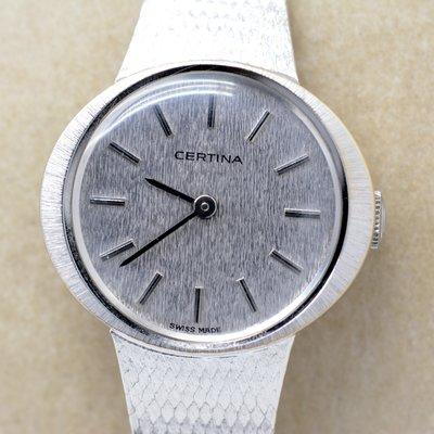 《寶萊精品》CERTINA 雪鐵納銀銀色袖珍手動女子錶
