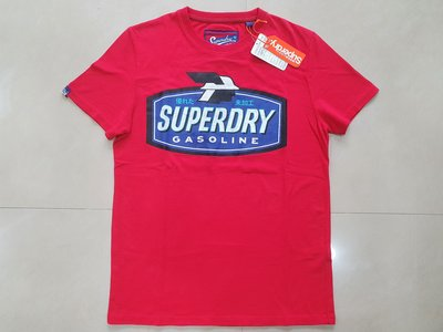 【Superdry專區】極度乾燥 Superdry Gasoline Logo短T 紅色 L號 復古裂紋