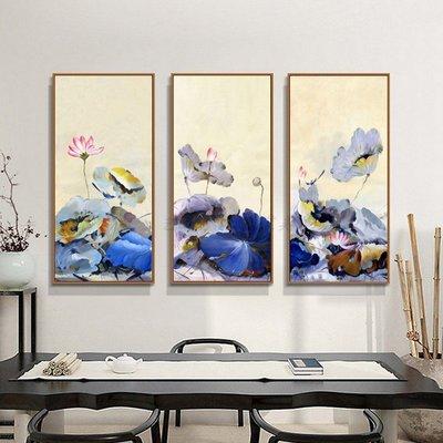 現代新中式荷花荷韻油畫風格微噴裝飾畫畫芯客廳玄關掛畫無框畫心(不含框)