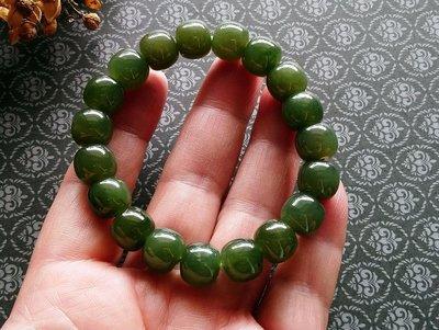 簡單Simple。現貨。30487號天然和闐玉/和田玉湖水綠青玉晴水料老型珠手珠手鍊。11MMx9.2MM