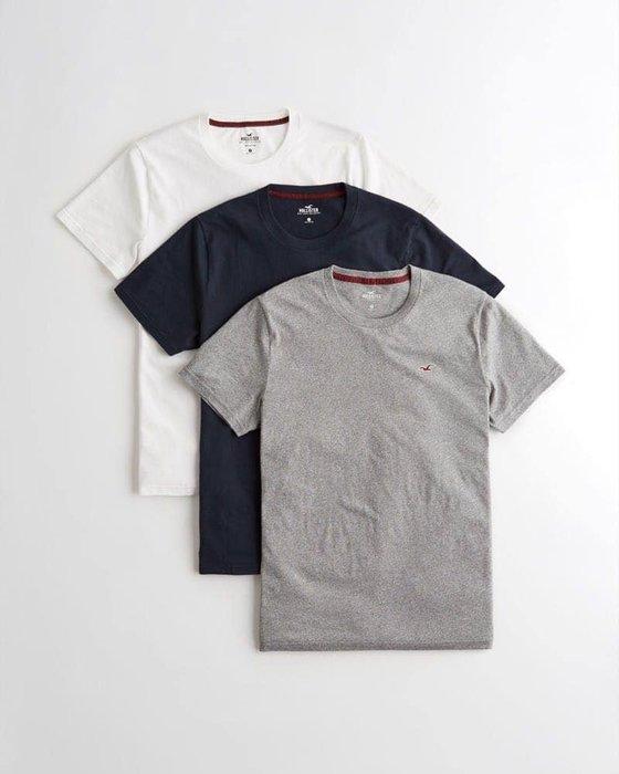 美國百分百【Hollister Co.】T-shirt 短袖 白灰藍 T恤 三件組 海鷗素T 圓領 XS~XL A103