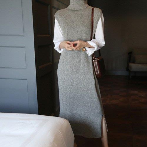 連身裙 下擺開叉高領背心連身裙 艾爾莎【TGK7056】