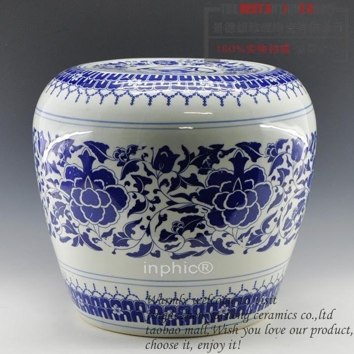 INPHIC-景德鎮陶瓷器 青花蘋果纏枝蓮凳子 工藝品家居擺飾