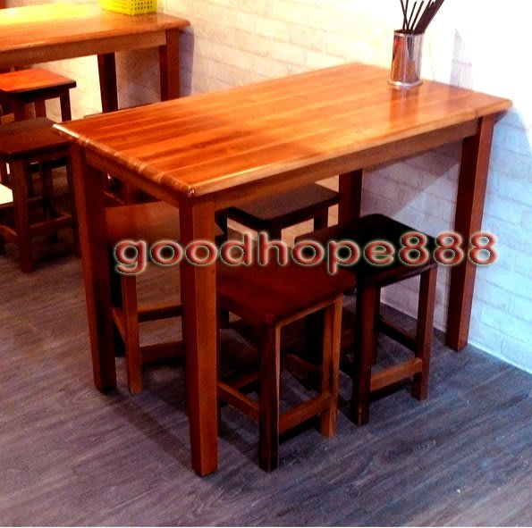 [自然傢俱坊]-松河-東芳實木餐桌(60*105*75)TUT-8171+東芳實木方高凳TUT-8131*4(一桌四椅)