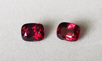 揚邵一品 紅尖晶石(對石 附證書)緬甸1.50 / 1.56克拉鴿血紅尖晶石 極度稀少,頂級緬甸抹谷產