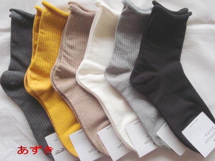 韓國直送-直紋x單色  隨性 不收邊寬口襪系列-特39 .任選3雙111 [男女通用款]