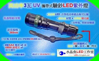 驗鈔燈 - 攜帶式 高功率UV紫外LED燈 (UVA 365nm )/銀行 當鋪 小吃 收銀機/身分證 護照 偽鈔假鈔