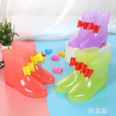 小學生中大童公主蝴蝶結兒童雨鞋女童寶寶雨靴小女孩可愛防滑水鞋 QG6091