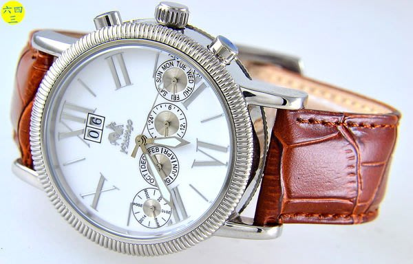 (六四三精品)佛朗明哥超大錶徑大三針四眼自動機械錶(年.月.日.星.24小時制)年曆錶.白面
