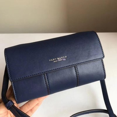 Alina精品代購 TORY BURCH 美國輕奢時尚 2018新款NAPA牛皮 藍色小方包 斜背包 美國代購