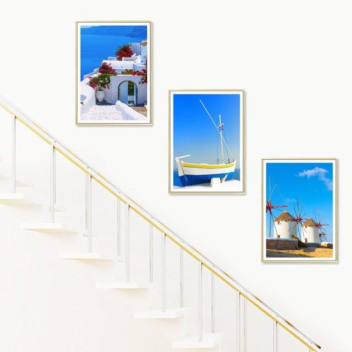掛畫 壁畫 樓梯間裝飾畫現代簡約地中海風景走廊過道酒店餐廳臥室墻壁畫掛畫