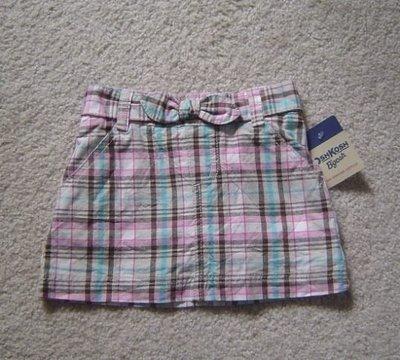 【全新正品】 Oshkosh 純棉格紋短裙~內缝小褲褲~~3T