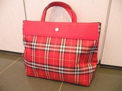 100%新100%正版「Burberry」真皮 長興 紅格仔 手提 手挽 手拎袋 Bag Made in Italy 意大利造 (原$13,800)