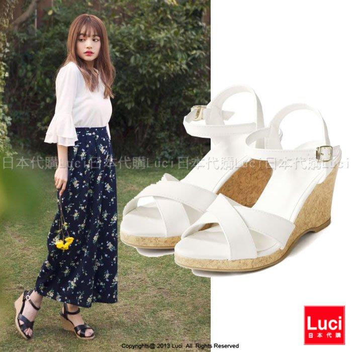 高跟涼鞋 交叉楔型高跟鞋 軟木塞跟 渡假風  好搭配 高跟涼鞋  LUCI日本代購 [ds49ye]