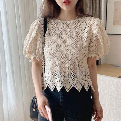 純棉針織蕾絲嘍空泡袖上衣🌵sal0228