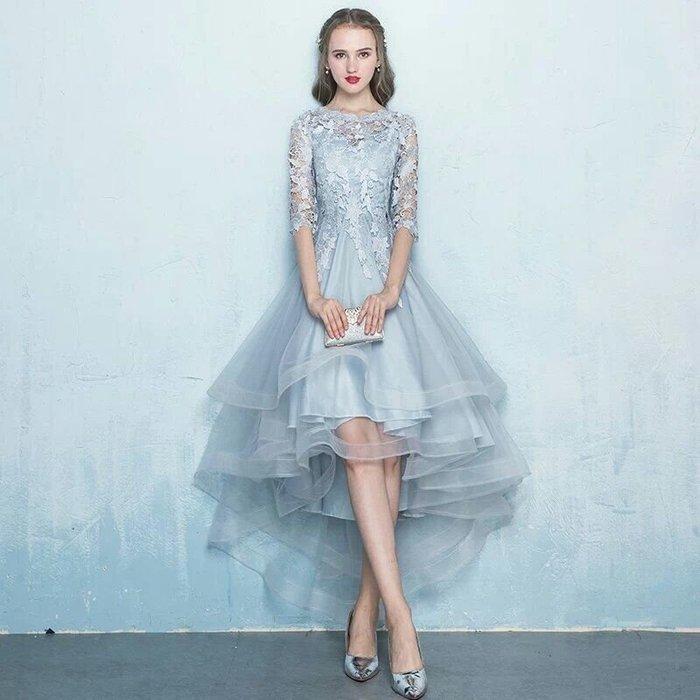 天使佳人婚紗禮服旗袍~~~~~前短後長蕾絲晚禮服 實品