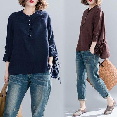 微大尺碼 MM棉麻長袖寬鬆不限體重超大尺碼純色蝙蝠袖套頭襯衣套頭上衣女