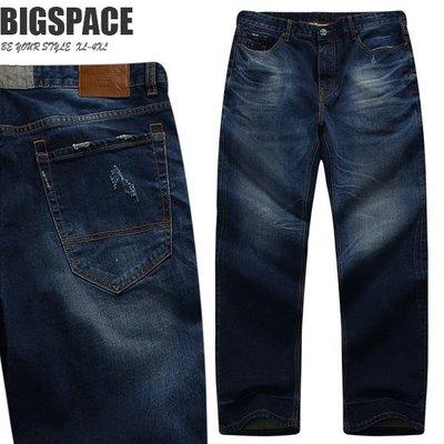 【加大空間】經典刷色彈力舒適牛仔褲剪裁合身有型 38~50腰 XXXXL 大尺碼舒適加大BIGSPACE【621764】