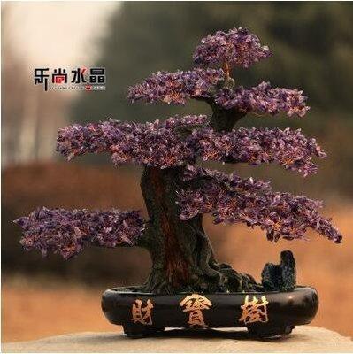 【優上】天然紫水晶招財搖錢樹開業擺件財寶發財「紫水晶招財樹」