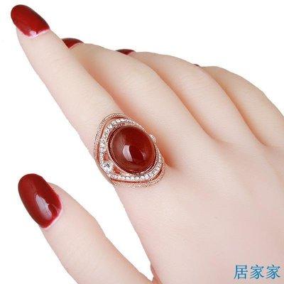 居家家 歐美時尚復古紅瑪瑙食指戒指女天然水晶裝飾指環韓版夸張潮人飾品