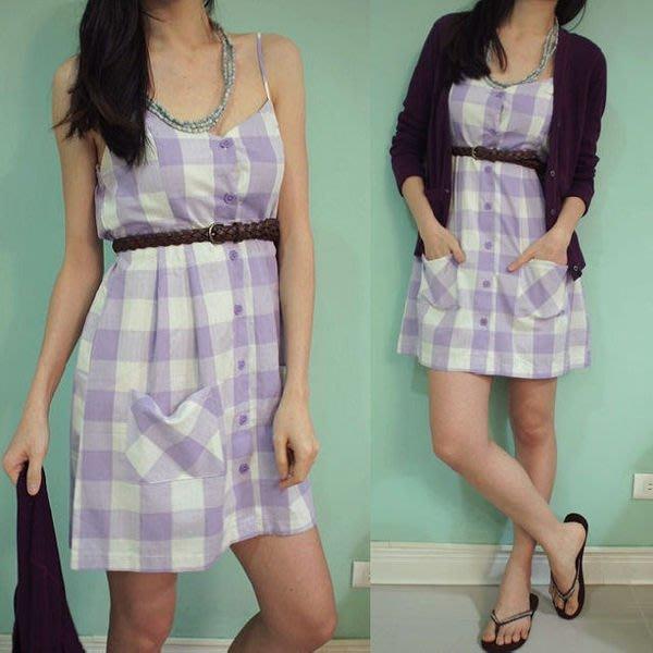 休閒品牌 FOREVER 21 女生款棉質紫格細肩帶洋裝( 夏季新款.特價出售 )