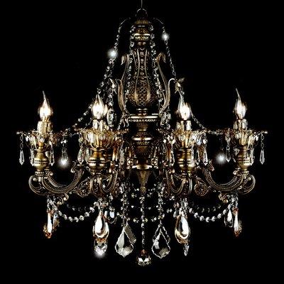 埃及奧地利鋁合金古銅銀楓葉水滴水晶燈E14-8燈(琥珀色)TA95097