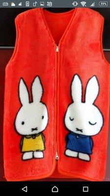 日本購回 正版 Miffy兔 Dick Burn橘色雙面刷毛長背心(大人尺碼)原價近 2 萬