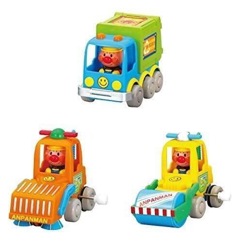 *凱西小舖*日本進口正版麵包超人Anpanman發條工程車 洗路車 壓路車 垃圾車