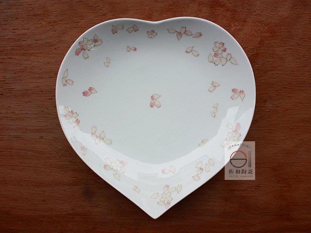+佐和陶瓷餐具批發+【XL070712-3春櫻心型9吋皿-日本製】日本製 櫻花 愛心盤 造型皿 送禮 三尺寸 宴客