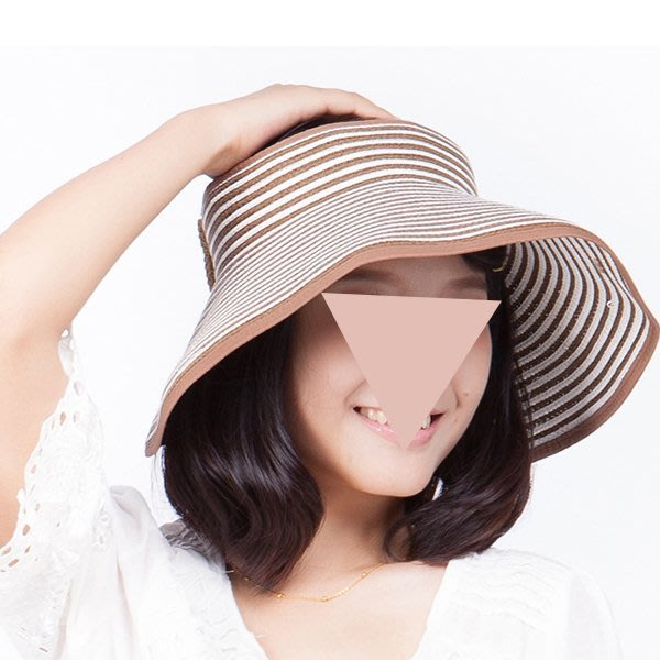 帽子 【FSS002】條紋韓系草編空頂遮陽帽 陽光 遮陽 配件 托特包 收納女王