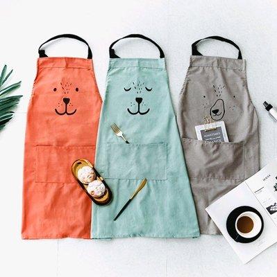 ~銅板屋~~ ~3款 日式 棉麻 親子 動物 圍裙 工作服 烘焙 畫衣 卡通 收納箱 純色 文青 可愛 文藝 北歐