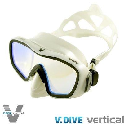 台灣潛水 V-Dive白金版_M103W VITRO MASK時尚鑽石白矽膠(UV偏光鏡面鏡片)
