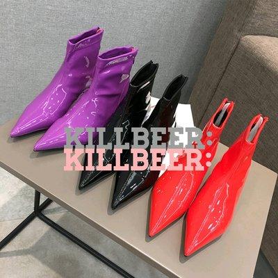 Kill Beer:貪心女孩的新風格之 歐美復古搖滾光澤亮面漆皮糖果色尖頭拉鍊中跟短靴踝靴35-39 zara