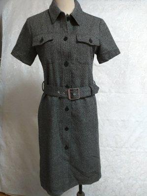 全新原價$3750~專櫃品牌BEEF AMILY 羊毛混紡 深灰色系 短袖 超修身款 洋裝~E205