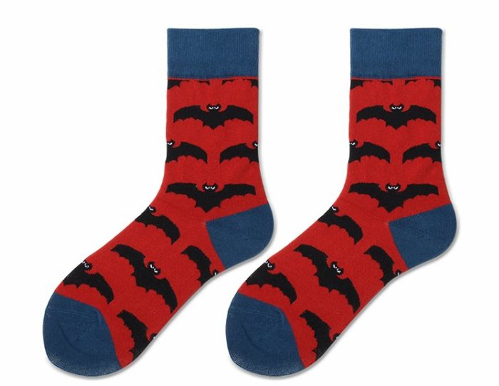 邪惡蝙蝠趣味中統襪   紅色  藍色  蝙蝠  運動襪  中統襪  襪子  普普風  撞色時尚【小雜貨】