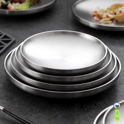 集物生活-韓式盤子8個套裝304不銹鋼雙層盤子隔熱餐盤家用圓盤平盤菜碟