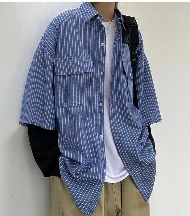 FINDSENSE X  男士 長袖假兩件拼接帥氣百搭學院風牛仔長袖襯衫