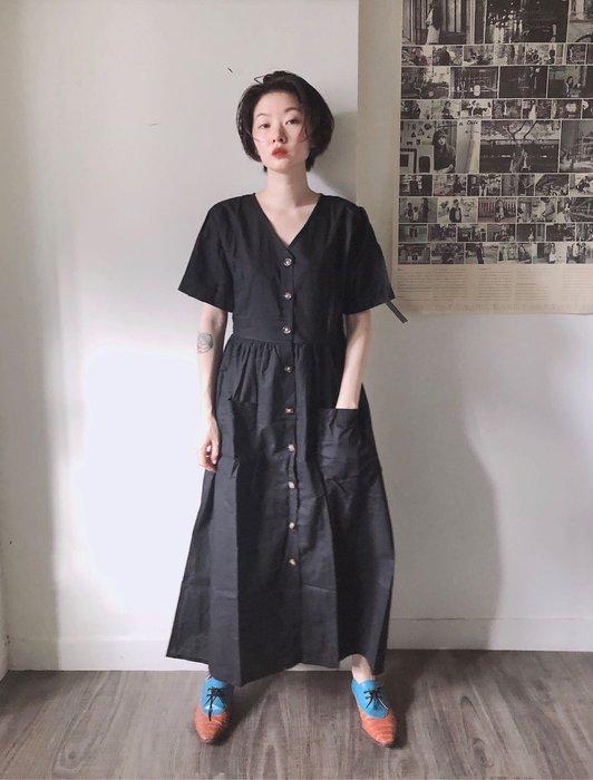 SeyeS  古著時尚英倫簡約V領優雅排扣口袋洋裝