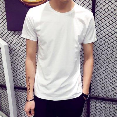 夏季男士短袖T恤圓領純色體恤打底衫韓版半袖上衣夏裝男裝黑白潮   全館免運