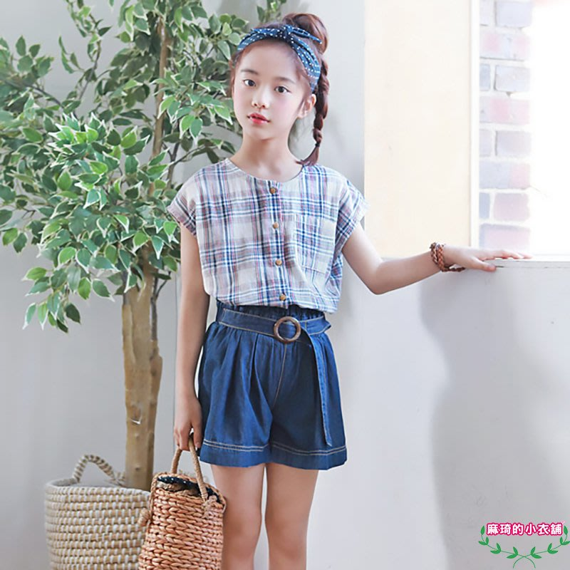 [memene] 日韓版女童 棉質復古格子 無袖上衣