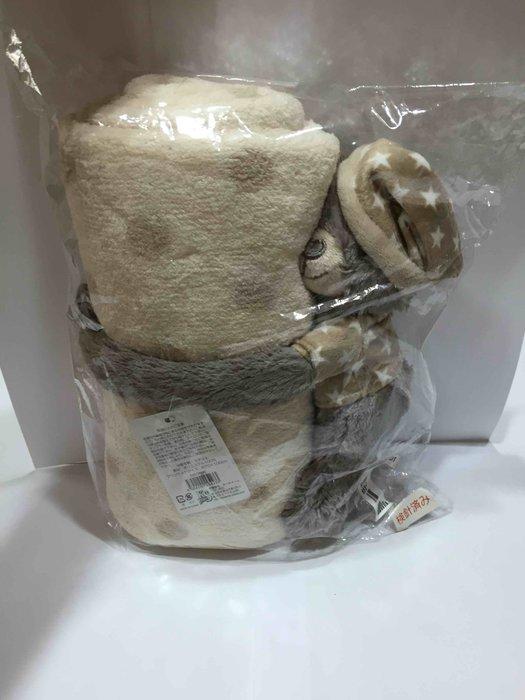 日本 灰色熊娃娃 保暖毯